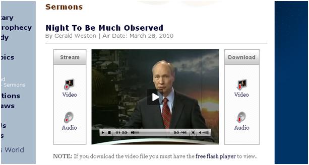 Screenshot of sermons website.