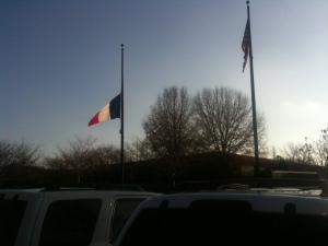 French flag at half mast