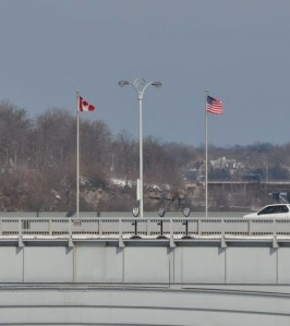 Canadian & US Flags on border bridge