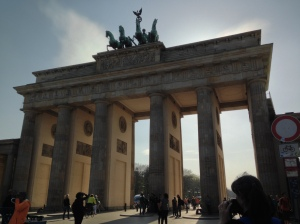 The Brandenburg Gate (one of my favorite structures in Europe). Beautiful Wife (my favorite structure on any continent) can be seen in the lower right corner taking a picture.