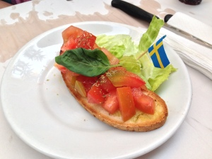 "Gluten-free bruschetta in Italy -- easily the most ""gluten-free friendly"" country on our trip."